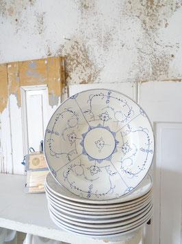 tiefer Teller Keramik handbemalt Blaudekor