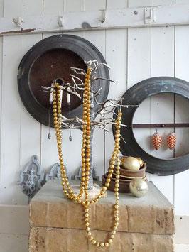 240cm uralte Baumkette aus Hohlglasperlen - gold