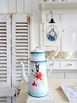 3L antike Cafetiere franz Kaffee-Kanne emailliert