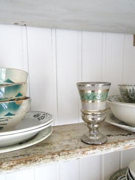 antiker Bauernsilber Pokal zartgrüne Bemalung
