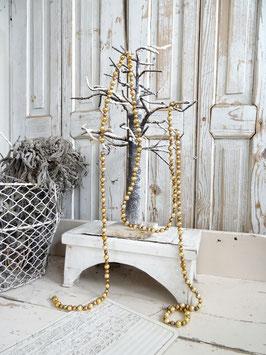 200cm uralte Baumkette aus Hohlglasperlen - gold