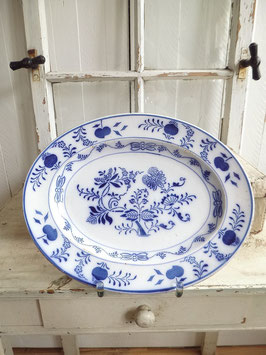 antike ovale Platte - Keramik mit Zwiebelmuster