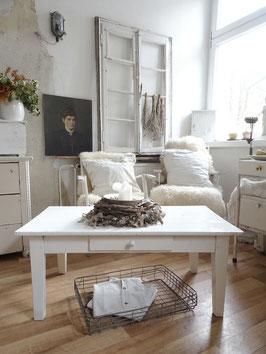 antiker Tisch Couchtisch alter weißer Lack