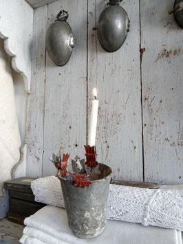 antiker Kerzenhalter KRONE rot