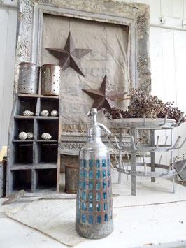 ummantelte uralte franz Sodaflasche blau Kegelform