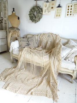210x215cm sehr alter franz Bettüberwurf