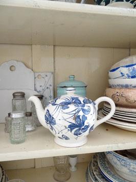 uralte franz Teekanne - blaues Blumendekor