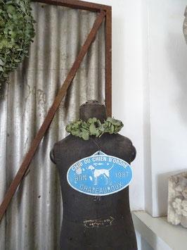 alte franz Stallplakette Zuchtplakette weiß/hellblau