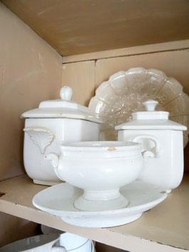 antiker Sucrier CREIL weiße Keramik