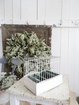 sehr alter Singvogelkäfig - alter weißer Lack