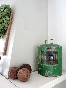 uralte Schiffslampe / Windlicht? tannengrün - geniale Patina