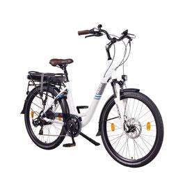 "EPAC, NCM Munich 26"" City E-Bike, 36 V 13 Ah 468 Wh Li-Ion Zellen Akku, mit mechanischen Scheibenbremsen, weiß"