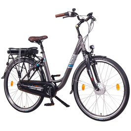 "EPAC, NCM Munich N8C, 28"" City E-Bike, 36 V 13 Ah 468 Wh Li-Ion Zellen Akku, mit Rücktrittbremse, anthrazit"