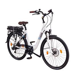 "EPAC, NCM Munich 28"" City E-Bike,36V 13Ah 468Wh Li-Ion Zellen Akku, mit mechanischen Scheibenbremsen, weiß"