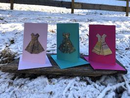 Grusskarte Origami Kleid