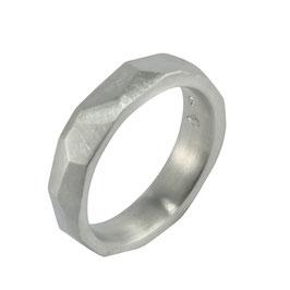 Kristallit Herrenring 5,5 mm kantig
