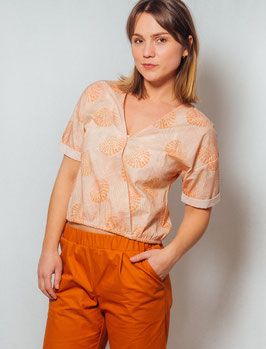 Shirt in Wickeloptik apricot