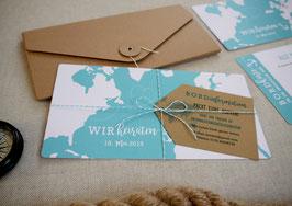 Hochzeitseinladung | Bordkarte Reisen
