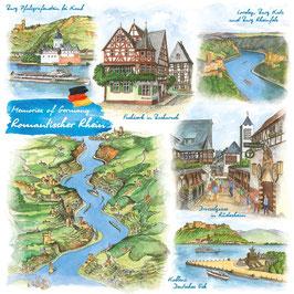 """Motivserviette """"Romantischer Rhein"""""""