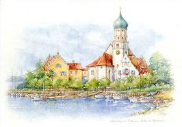 Aquarell Bodensee Wasserburg