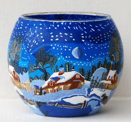 Teelicht-Leuchtglas Winterdorf