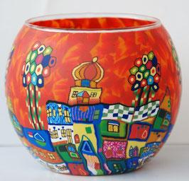 Teelicht Leuchtglas Motiv bunte Stadt rot