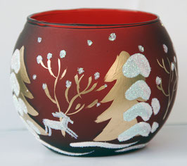 Teelicht-Leuchtglas Winterwald
