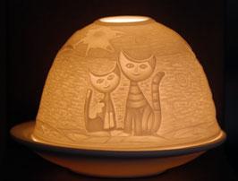 Porzellan-Windlicht Katzen