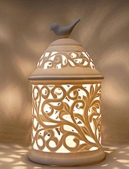 Elektrische Porzellanlampe, Laterne mit Vogel