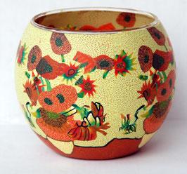 Teelicht-Leuchtglas rot-gelb
