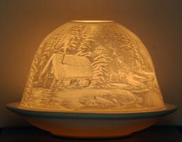 Porzellan-Windlicht  Blockhütte