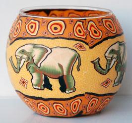Teelicht-Leuchtglas Elefant weiß
