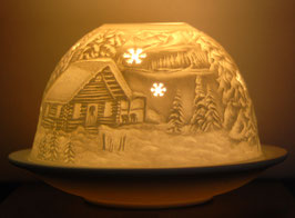 Porzellan-Windlicht Waldhaus