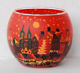 Teelicht-Leuchtglas Stadt rot mit Baum