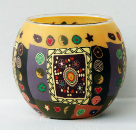 Teelicht-Leuchglas lila braun