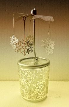 Glas-Karussell-Windlicht Motiv Schneeflocken