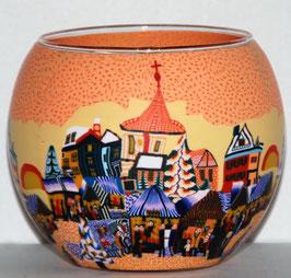 Teelicht-Leuchtglas Stadt mit Turm