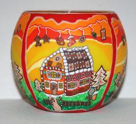 Teelicht-Leuchtglas Pfefferkuchenhaus