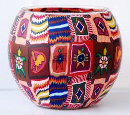 Teelicht-Leuchtglas Inka-Muster
