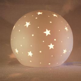 Elektrische Porzellanleuchte in Kugelform, Sterne