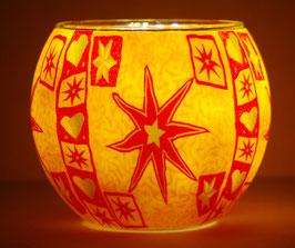 Teelicht-Leuchtglas Stern gelb rot