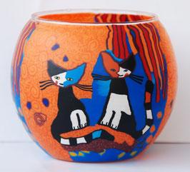 Teelicht-Leuchtglas Katzen blau