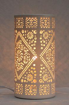 Elektrische Porzellanleuchte in Zylinderform, Motiv Ornament