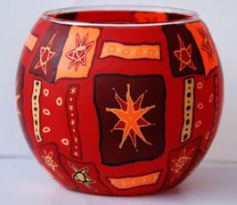 Teelicht-Leuchtglas Stern rot dunkel