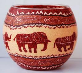 Teelicht-Leuchtglas Elefant rot