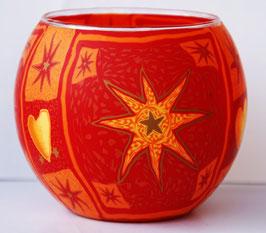 Teelicht-Leuchtglas Stern orange