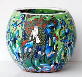 Teelicht-Leuchtglas Schwertlilien