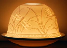 Porzellan-Windlicht  Libellen