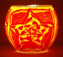 Teelicht-Leuchtglas Stern Mosaik rot gelb