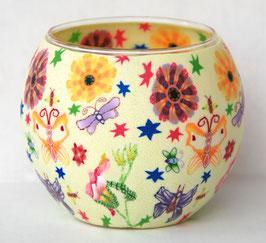 Teelicht-Leuchtglas Blume bunt